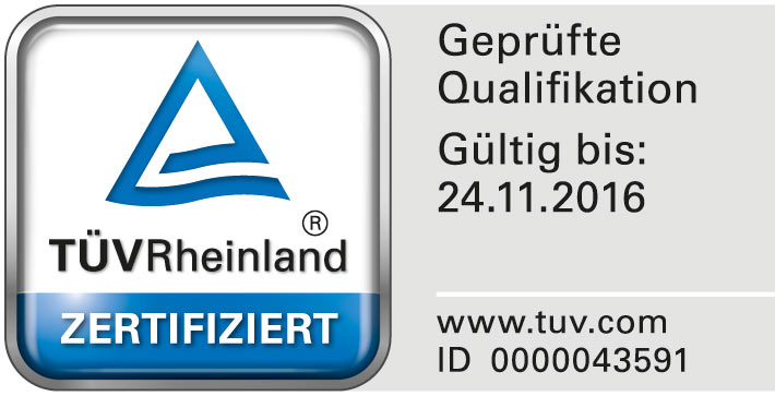 TÜV Signet:, ID-Nr. 0000043591